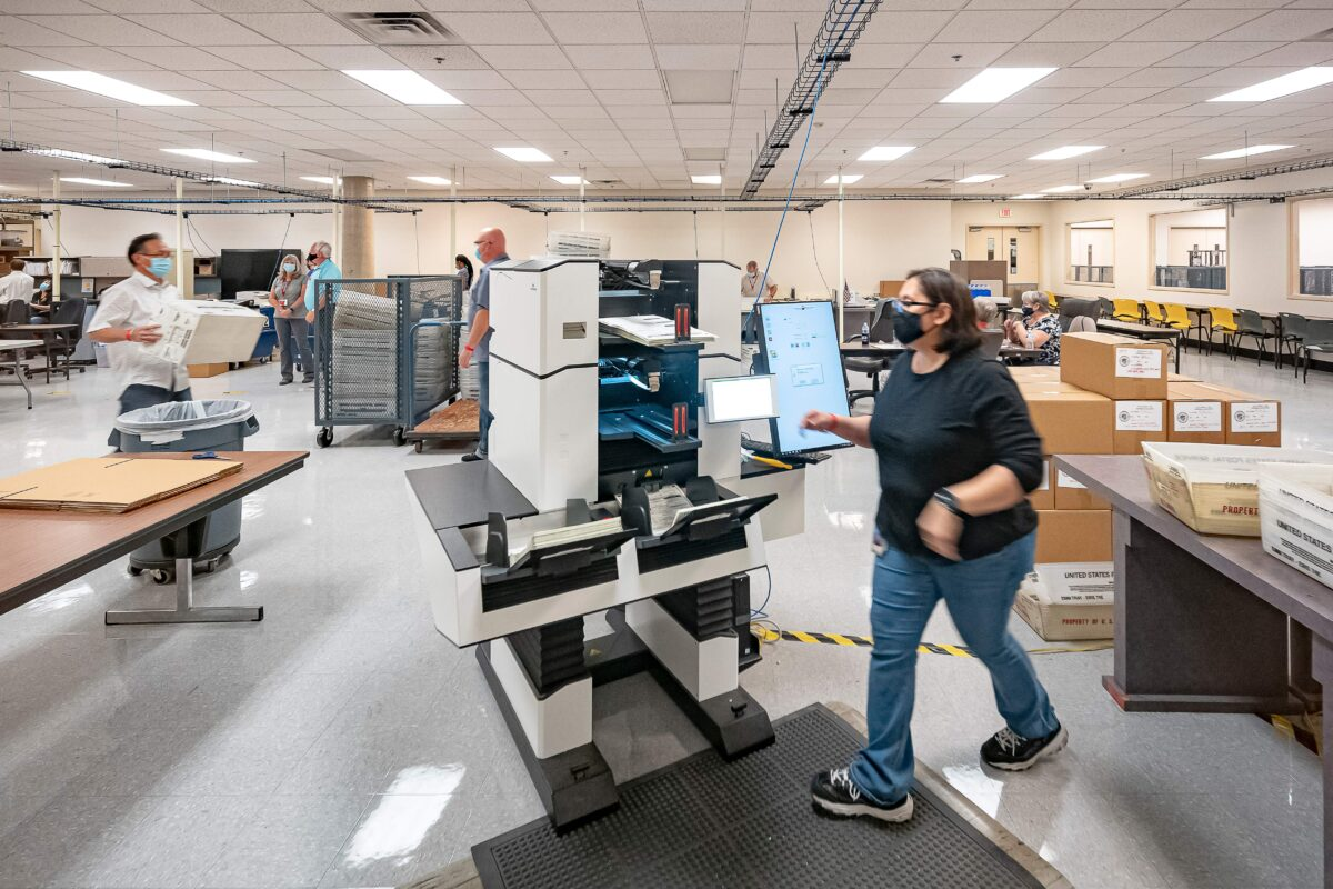Ballots are counted at the Maricopa County