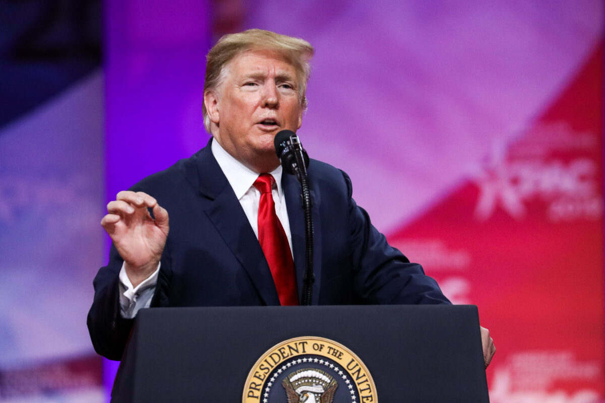 President Donald Trump speaks at the CPAC convention in National Harbor