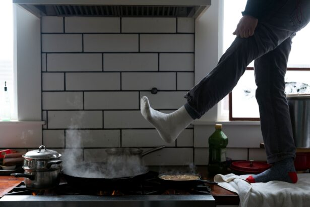warm feet over gas stove