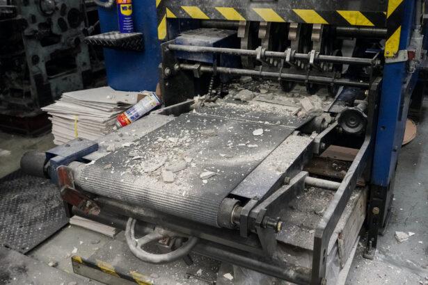 Construction debris on top of printing press equipment