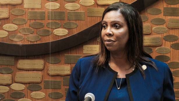Letitia James speaks at a news conference