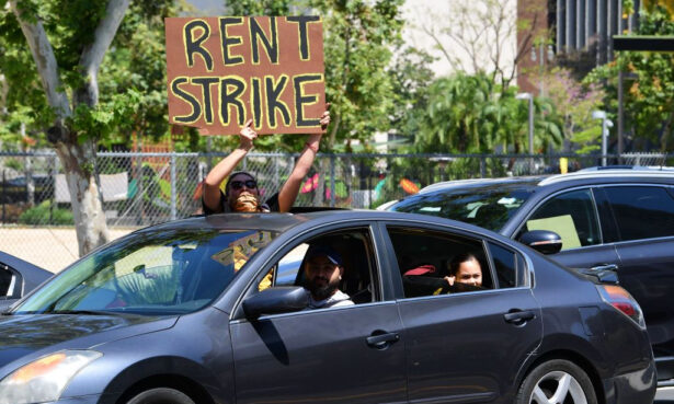 Demonstrators call for a rent strike