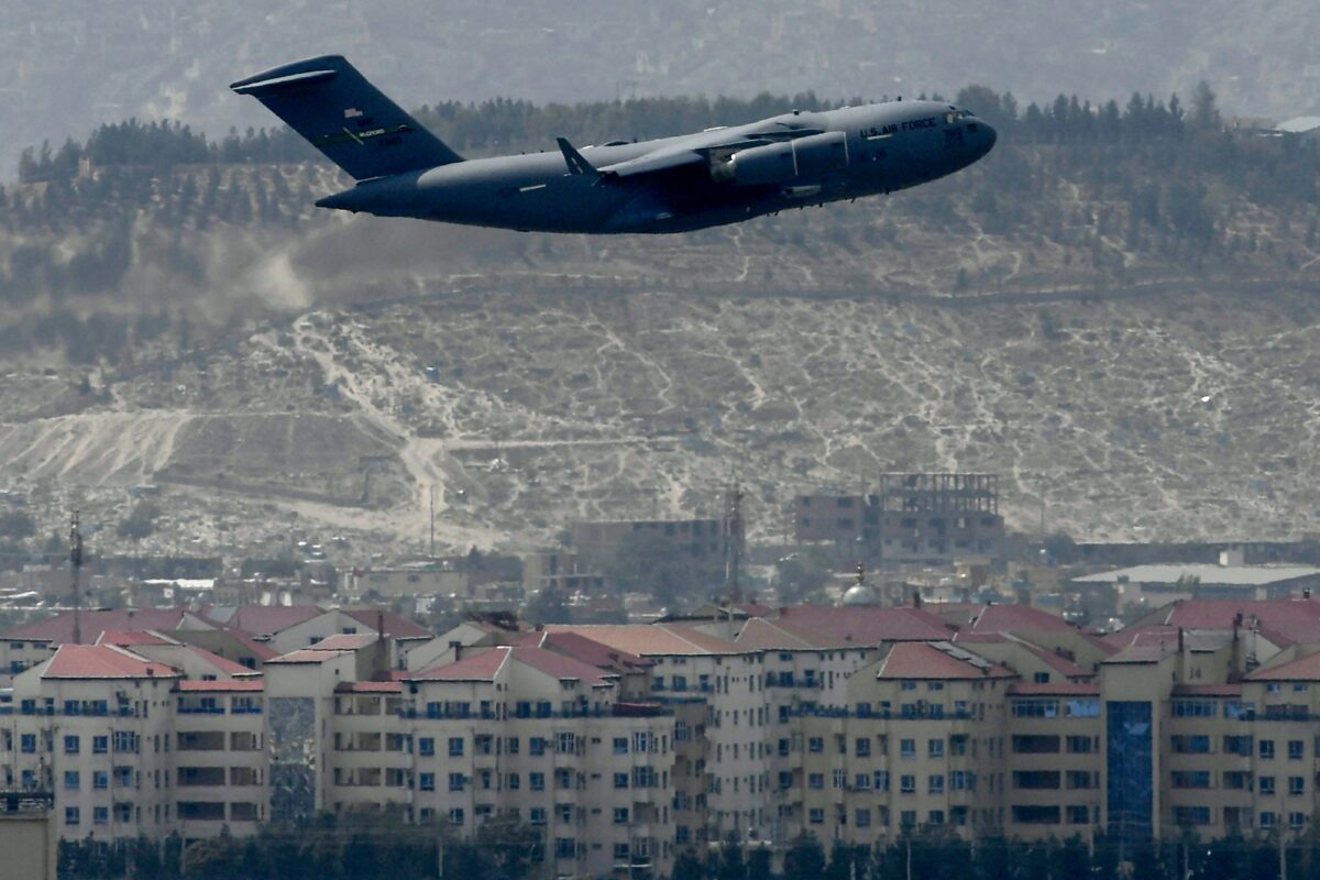 A U.S. Air Force aircraft takes off