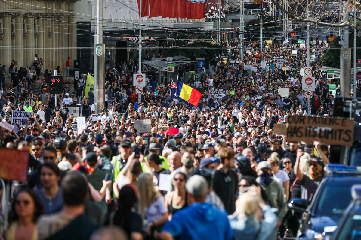 Anti-Lockdown Protesters Defy COVID-19 Restrictions To Rally In Melbourne